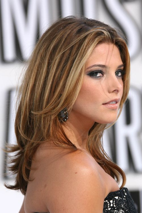 Dark Brown Hair Bronze Highlights | Ashley Greene Straight Light Brown All-Over Highlights, Angled ...