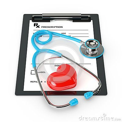 3d rendering of rx prescription and stethoscope over white background