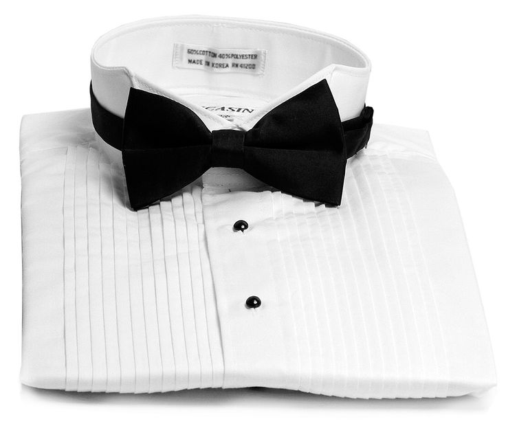 Lucasini White Wing Tip Mens Tuxedo Shirt Bow Tie