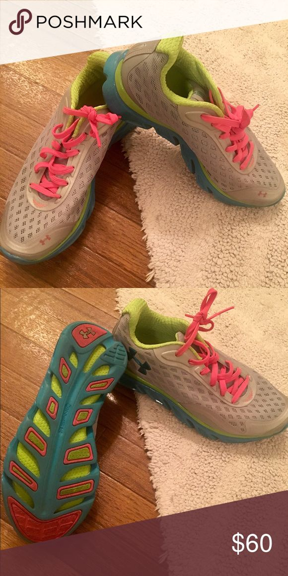 Under Armour Tennis Shoes **barely worn** Under Armour Tennis Shoes in grey, turquoise and pink. So cute and comfortable! Under Armour Shoes Sneakers