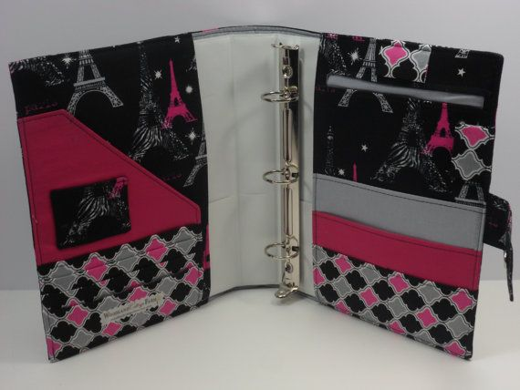 5.5 x 8.5 3 Ring Binder Cover $40.00 ~~~ or sew it yourself if you sew!!! Love this idea and I bet my kids will as well, they can pick their own fabrics out and swap them out once in awhile or for the seasons!