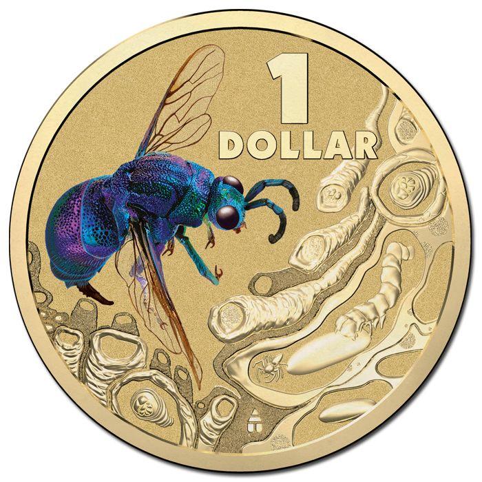 2014 $1 Bright Bugs - Cuckoo Wasp Colour AL/BR UNC