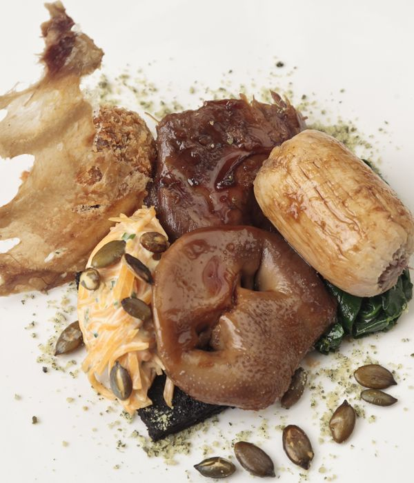 A pig's head is braised, crumbed and fried in this rustic pig's head #recipe from Matt Gillan. Black pudding is bang in fashion and adds a supplementary note of porkiness to this outstanding dish; a quenelle of pumpkin remoulade adds to the brilliance. #gross #foods