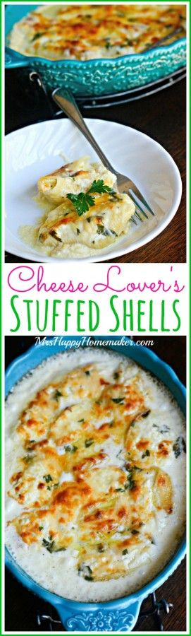 The cheesiest of cheesy pastas... these jumbo shells are stuffed with cheese, covered with my 'Better than Olive Garden' Alfredo sauce, & baked off into one of the best things ever. Cheese Lover's Stuffed Shells for the win! | MrsHappyHomemaker.com @thathousewife