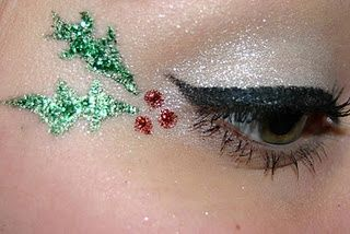 Christmas Holly Makeup!! We have some awesome glitter glue and beautiful colors of glitter that work perfect for a look like this!!