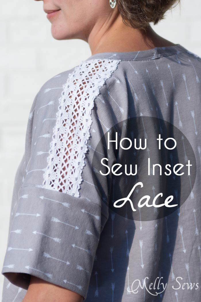 How to sew Lace Inset - Insert Lace in a Seam or anywhere else on a garment with this sewing technique - Melly Sews