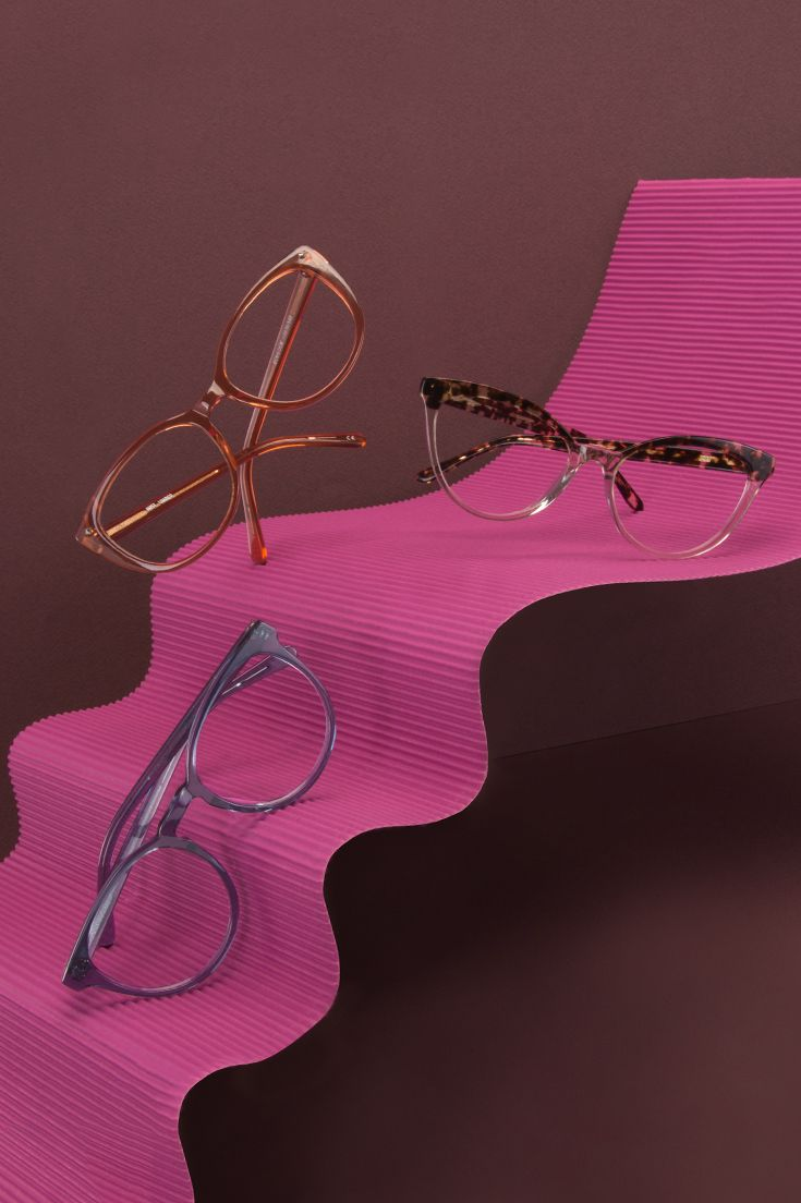 New Essentials collection for women. We took our best selling frames and vamped them up in new, fashion forward  colours such as Tortoise, Umber and Midnight. Top: Reverie Dark Tortoise Middle: Mist Umber Bottom: Brilliant Midnight