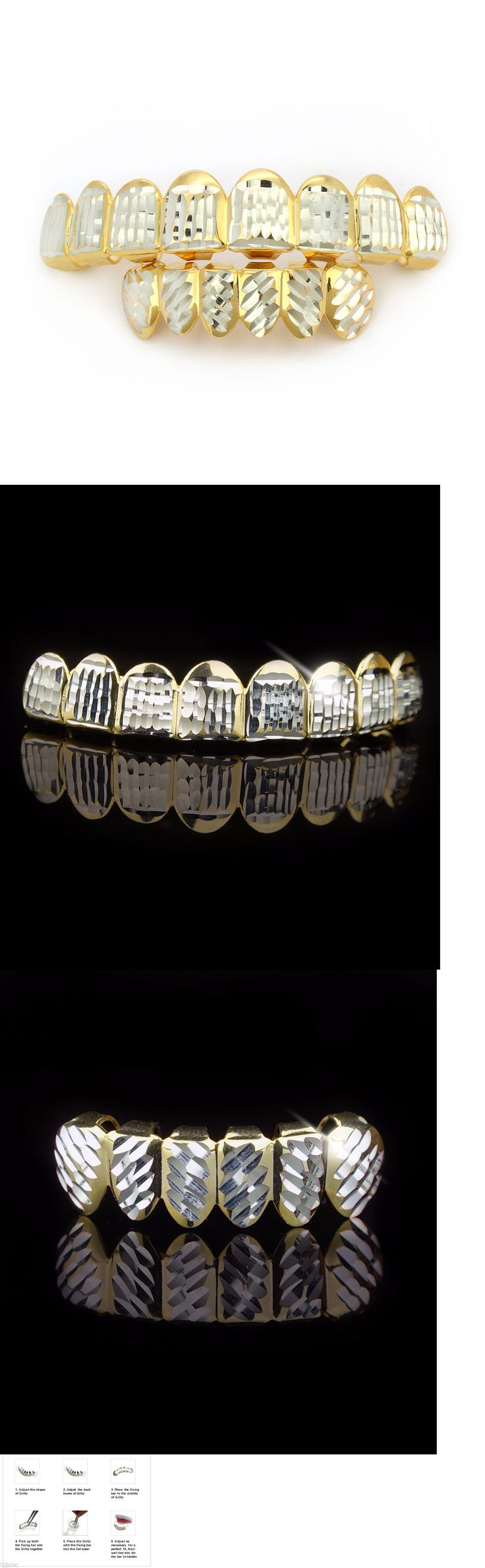 Grillz Dental Grills 152808: New 14K Gold Plated Hip Hop Diamond Cut Down 8 Teeth Grillz Top And Bottom Set BUY IT NOW ONLY: $250.0