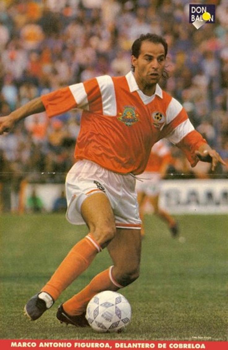 """Póster de la Revista """"don balón"""" Marco Antonio Figueroa, centro delantero del Club de Deportes Cobreloa."""