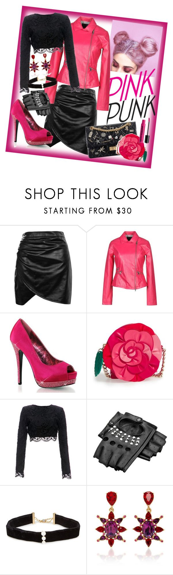 """""""Pink Punk"""" by velvy ❤ liked on Polyvore featuring Boohoo, Armani Jeans, Kate Spade, Stone_Cold_Fox, Anissa Kermiche, Oscar de la Renta and NYX"""