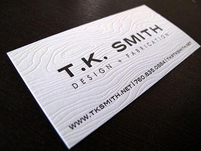 Letterpress woodgrain TK Smith by Anemone Letterpress Design - letterpress business card