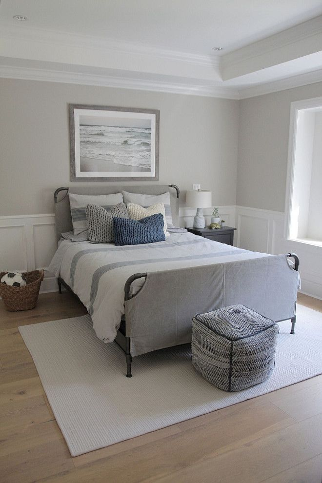 Benjamin Moore Revere Pewter HC-172 on walls, wainscoting, bed and bedding from Restoration Hardware Teen
