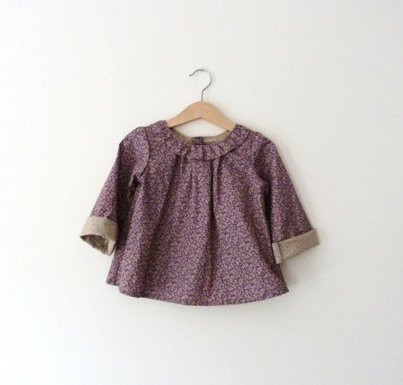 Girls Ruffle Collar Long Sleeves Blouse In Mauve by VesperClothier, $45.00  @Kathryn Lorusso - you've got to check out this shop!!!