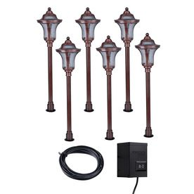 Portfolio 6-Light Copper Low-Voltage Path Light Kit from Lowes.   To put around bushes out by the pool.