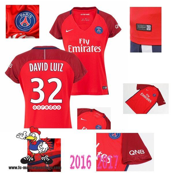 Vente Nouveau Maillot Football Paris Saint-Germain Rouge Femme (DAVID LUIZ 32)…