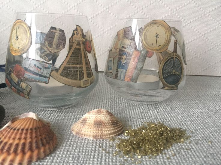 Excited to share the latest addition to my #etsy shop: Nautical candle holders - beach tealigt holder set  - glass tea light holders - decoupage tealight holders - nautical decor #glass #beachcandles #nauticaldecor #boyfriendsgift #unisexgift #nauticalgift #tealightholder #candleholder #nauticaltheme