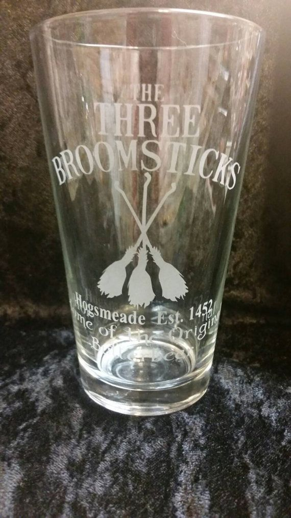 The Three Broomsticks Harry Potter Inspired Etched Glassware Hogsmeade Home of Original Butterbeer Etched Pint Glass Harry Potter Pint