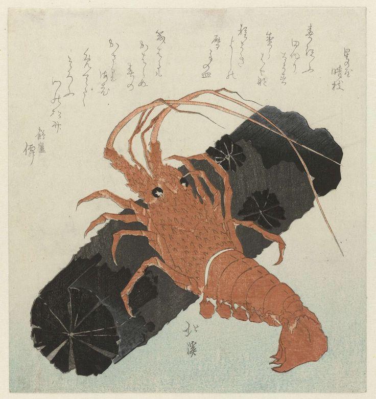 Totoya Hokkei   Kreeft met houtskool, Totoya Hokkei, Hoshinoya Seishi, Tsuruashi Gakusha, 1830 - 1839   Een rode kreeft klimt op een stuk houtskool. Met twee gedichten.