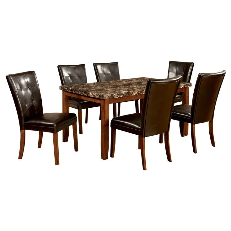 ioHomes 7pc Faux Marble Dining Table Set Wood/Antique Oak