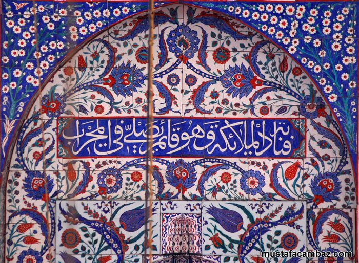 İznik tile. Piyale Paşa Camisi, İstanbul, Türkiye. Mimar Sinan.