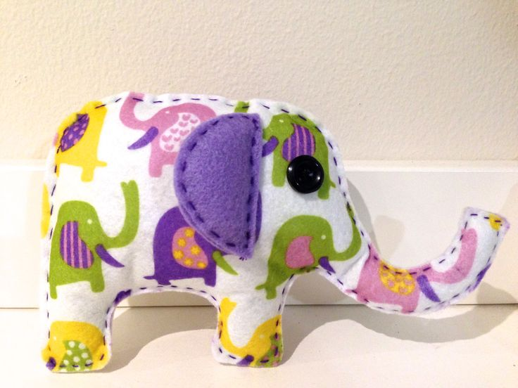 Felt elephant.  Hand sewn.    Follow us on Facebook www.facebook.com/ck.kreations