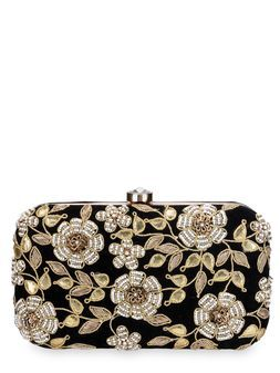 Karissa Black Velvet Clutch.Designer purses by Rusaru. Shop on www.jivaana.com for all your Indian weddings and festivals. #jivaana #indian #clutches