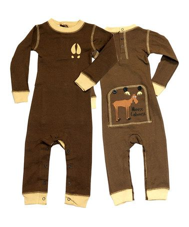 Take a look at this Brown Moose Caboose Flapjack Playsuit - Infant by Lazy One on #zulily today!... Ordered one for kolton! They have the cutest stuff!