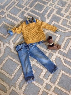 Boys Baby Gap Flannel Sweater Jeans Perfect Fall Outfit 3 Piece 3 T