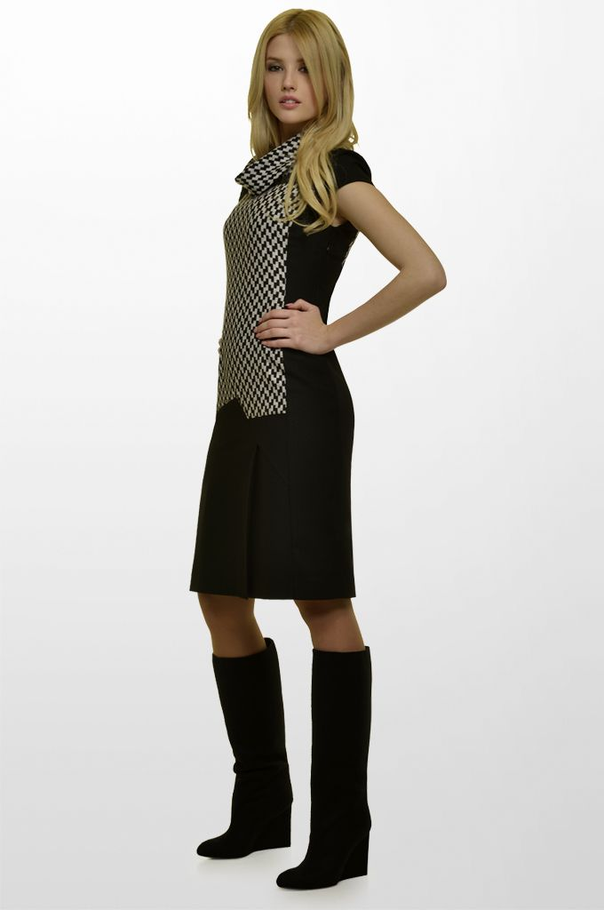 Sarah Lawrence - short sleeve cowl-neck dress with combination of solid fabric.