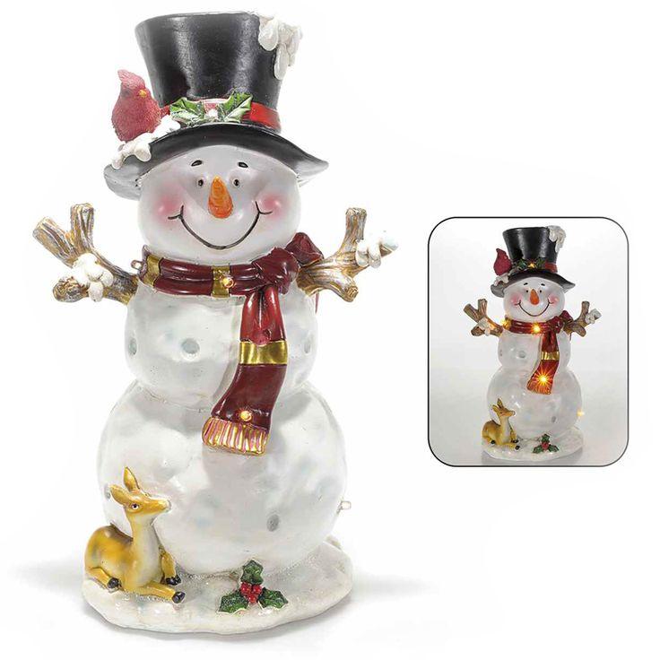 Pupazzo di neve da appoggio vestito a festa in resina con luci a led