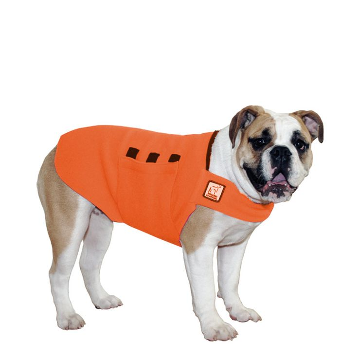Orange English Bulldog Dog Tummy Warmer, great for warmth, anxiety and laying with our dog rain coat. High performance material. Made in the USA.