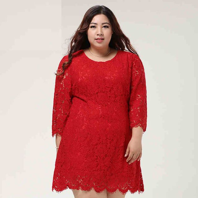 Plus Size 10XL Dresses Spring Autumn Women Fashion Big Size Lace King size dress elegant O-neck three quarter sleeve dress L399 US $59.98-60.98 /piece CLICK LINK TO BUY THE PRODUCT  http://goo.gl/oYWEYs