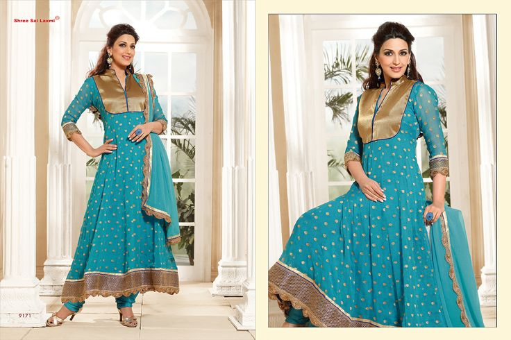 Stunningly Beautiful Sky Blue colored Georgette Anarkali with awesome Embroidery work en-crafted. Comes along with Matching Shantoon Bottom and Chiffon Duppatta finely Embroidered.