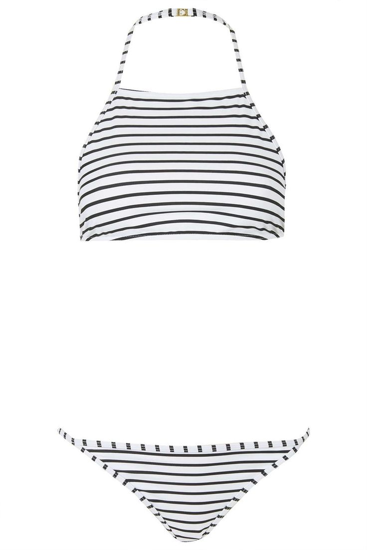Photo 1 of Striped High Neck Bikini Set