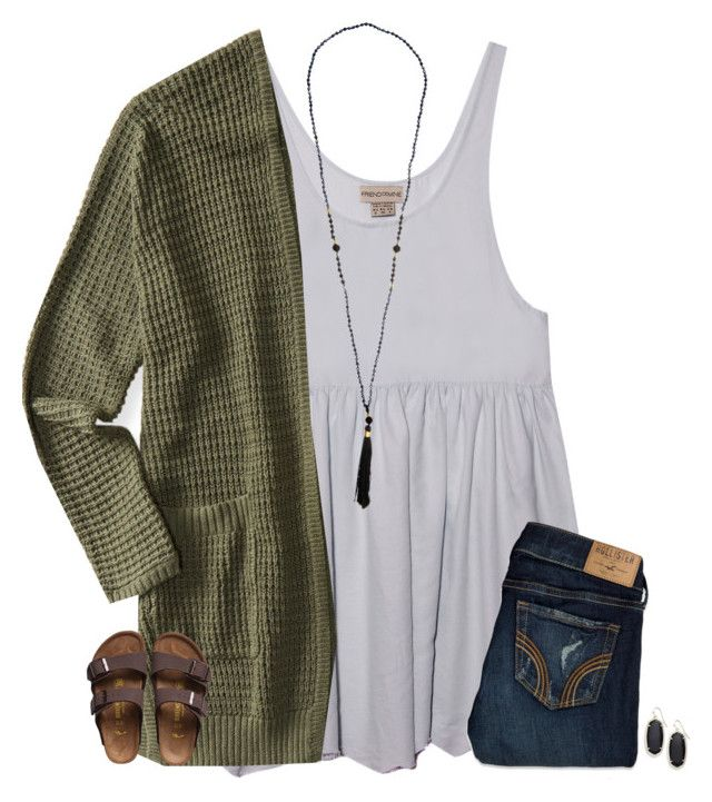 """""""still have so much Spanish hw"""" by secfashion13 ❤ liked on Polyvore featuring Aéropostale, Hollister Co., Birkenstock and Kendra Scott"""