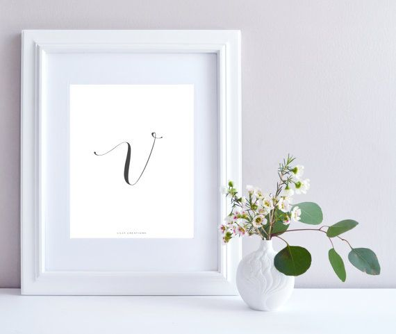 Initial V art print  Initial Print by LillyCreationJewelry on Etsy