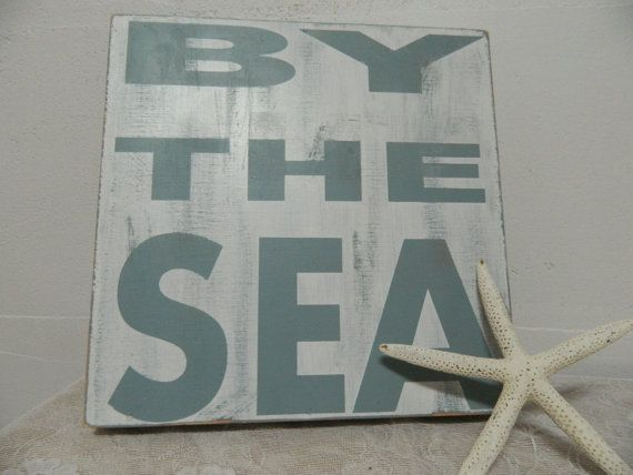 """By the Sea~ A quiet place to gather your thoughts~  Add some summer decor to your ocean home,vacation home, bathroom, porch or give it as a gift.....Handmade Handpainted 12x12 box frame sign can be propped up or hung by a single nail.1 1/2"""" thick makes a great little ledge to add some decor as well.....Cottage style,shabby chic distressed sign beach house blue and white~"""