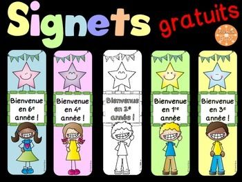 Signets - La rentrée - GRATUIT - maternelle à la 6e année. Versions en couleur…