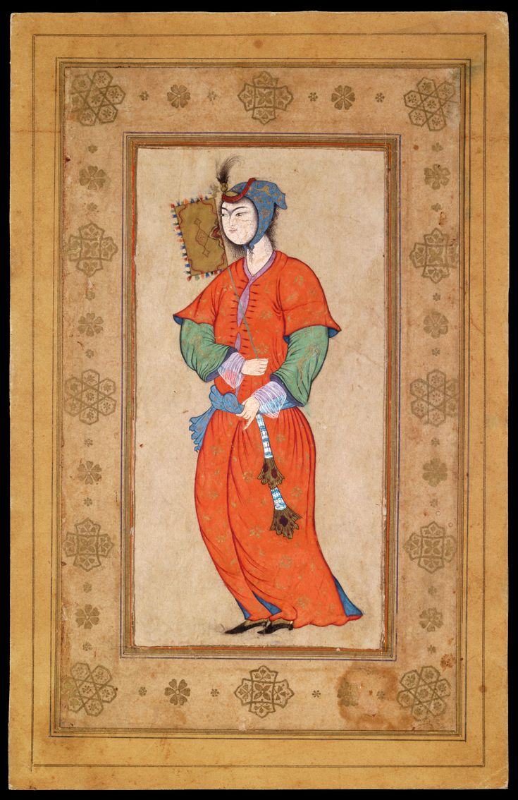 1590-1600. Young Woman with a Fan. Iran, Isfahan. Leaf: 23.5 × 15.2 cm. Very similar to painting by Riza-i Abbasi (1565-1635) in the Freer Gallery of Art in Washington, D.C.  This artist decidedly set the tone in 17th-century Iran. He had many pupils and imitators, and if this charming but unsigned painting was not made by the artist himself, then it was at least painted by one who knew and mastered his style to perfection.
