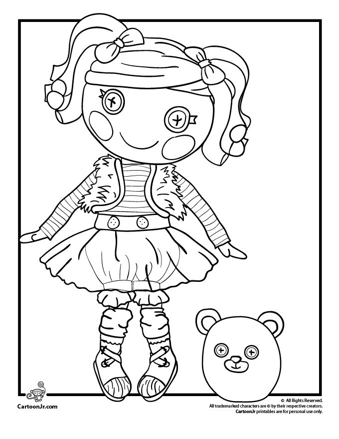 lalaloopsy doll coloring pages mittens fluff n stuff doll lalaloopsy coloring page cartoon jr
