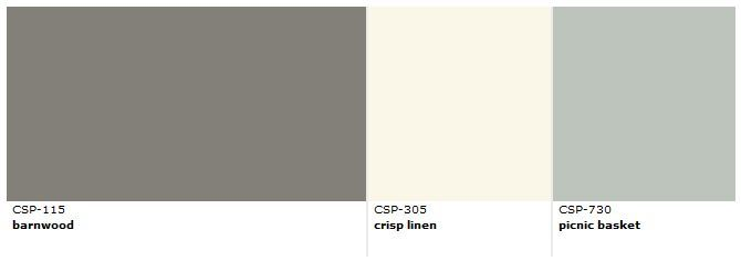 "Benjamin Moore paint color ""Barnwood"" CSP-115, and 2 coordinating colors.  ""Barnwood"" is inspired by a nostalgic, weathered barn, created from sturdy timbers, aged perfectly by the hands of nature."