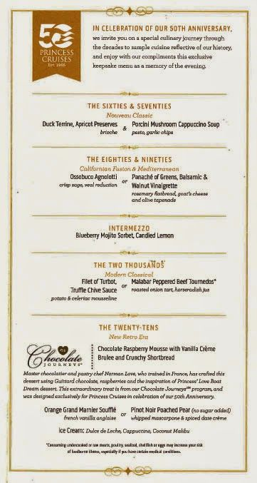 Regal Princess Special 50th Anniversary Menu Dining At Sea Pinterest Princesses