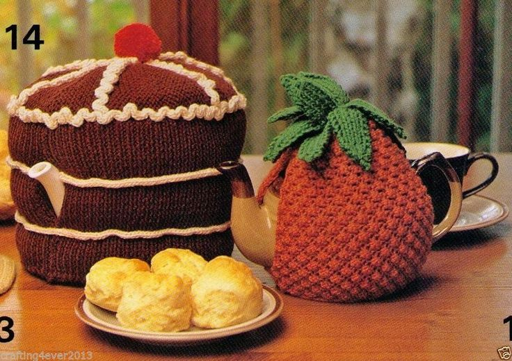 VINTAGE TEAPOT COZIES SET 2 CHOCOLATE GATEAU AND PINEAPPLE-8PLY KNITTING PATTERN