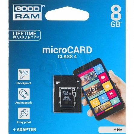 Ogólne:        Goodram micro SDHC 8GB Class 4 +adapter pochodzi z oficjalnej polskiej dystrybucji. Jest to oryginalny produkt firmy GoodRam - nowy, nieużywany, sprawny technicznie i fabrycznie zapakowany. Stanowi on wysokiej jakości wyrób, jeden z najnowszych modeli tego producenta w grupie Pamięci SecureDigital. Spełnia, określone przez GoodRam, parametry techniczne przy zachowaniu ustalonych warunków stosowania. Gwarantuje pełną satysfakcję i zadowolenie z jego użytkowania.     ...