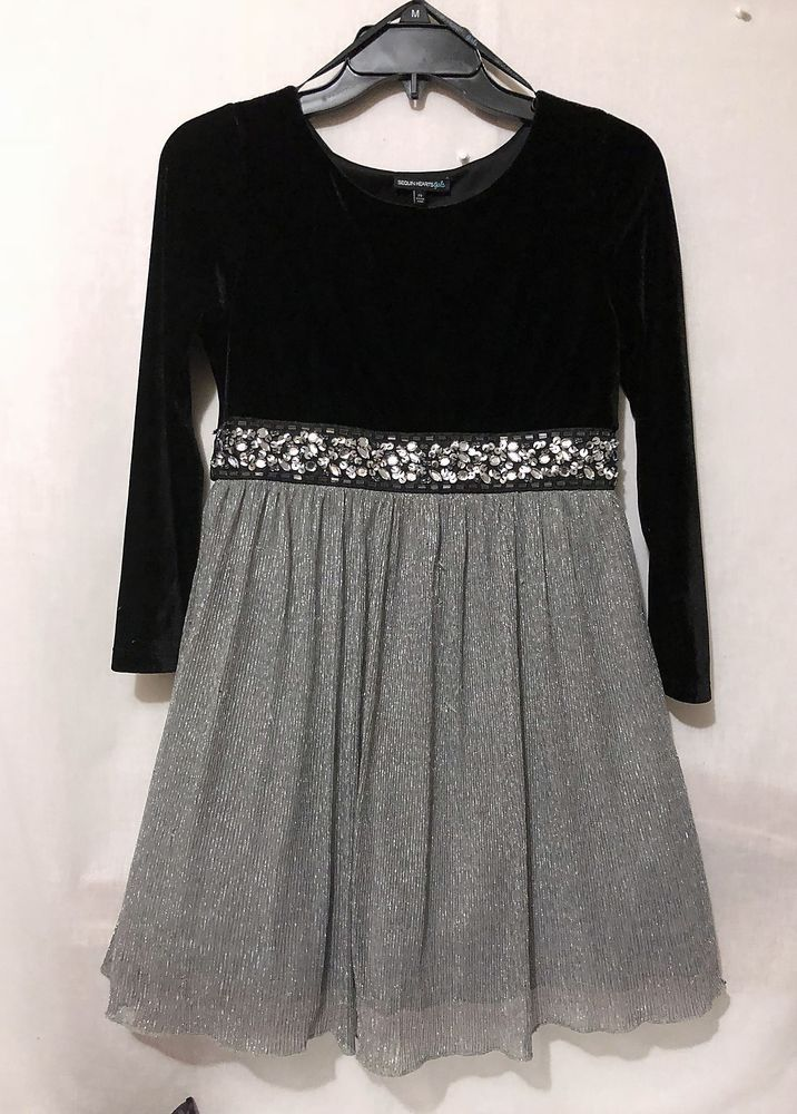 cc7b682c5 Girls size 14 Sequin Hearts Girls black silver shimmer dress holiday ...