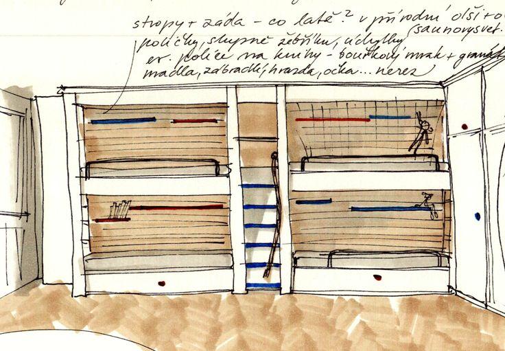 návrh palandy bunk bed design idea sketches hand drawn