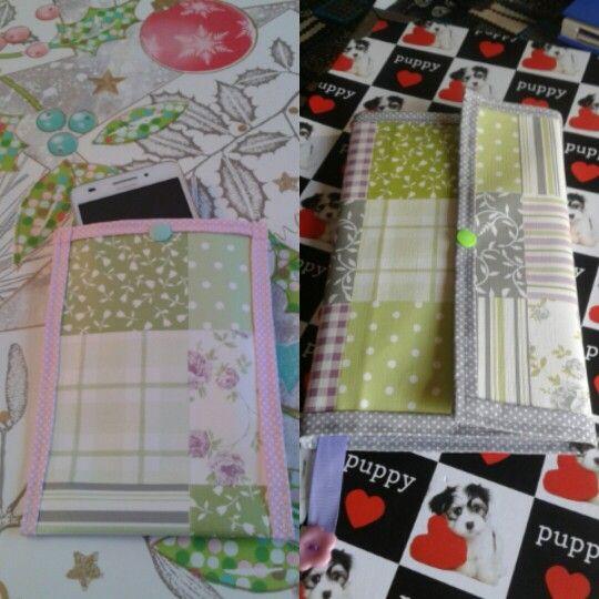 Conjunto de capa de agenda e bolsa de telemóvel em tecido plastificado