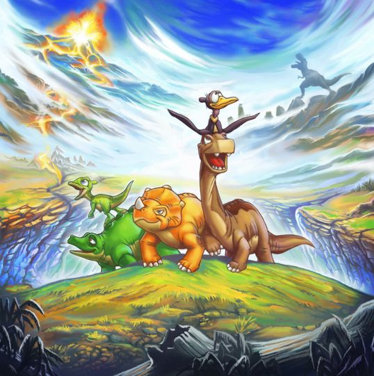 The Land Before Time (art by SovanJedi) free cross stitch pattern! Perfect for dinosaur lovers of all ages.