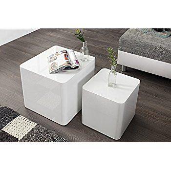 DuNord Design Beistelltisch Couchtisch MONOLIT Hochglanz Weiss 2er Set Tisch Amazonde