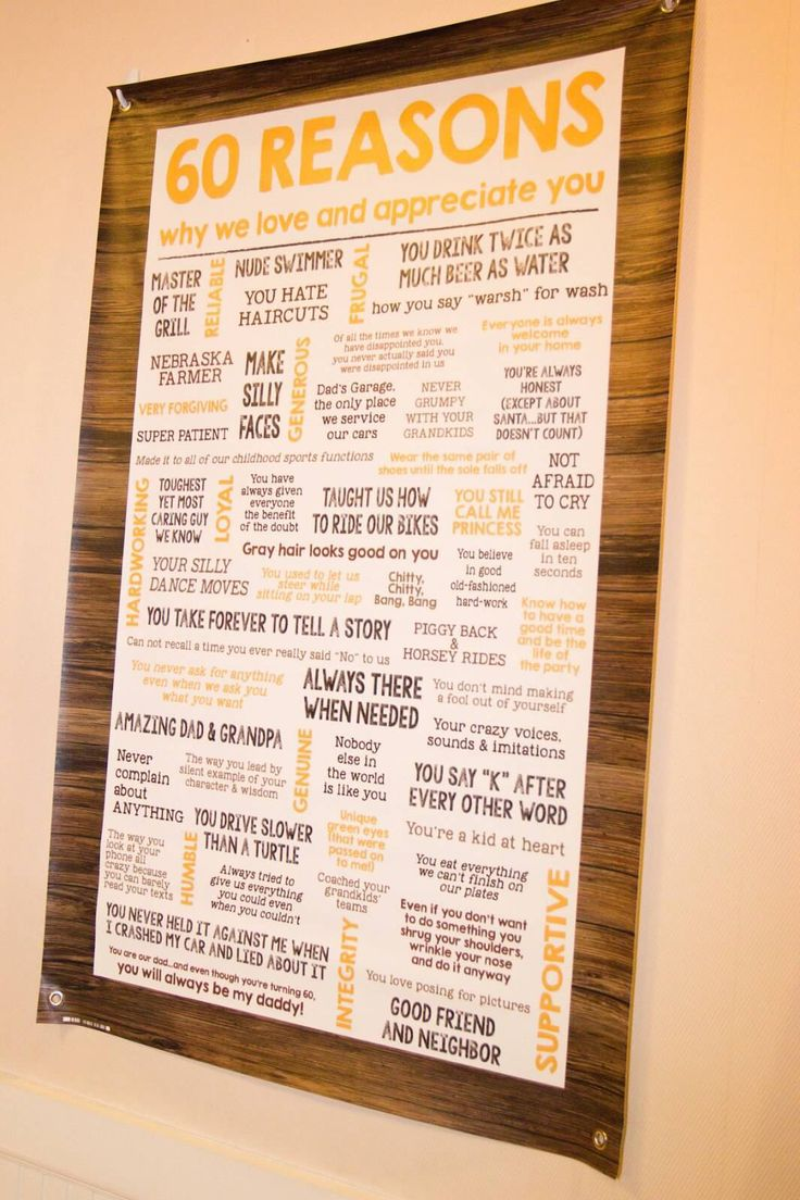 Rustic 60th birthday party. 60 reasons why we love you banner. Posh n ...